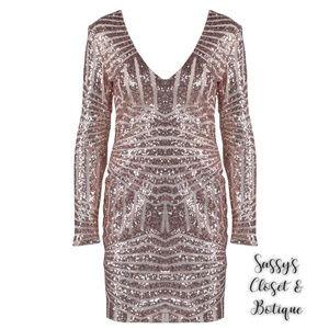 Dresses & Skirts - EUC V Neck Sequin Long Sleeve Bodycon Dress
